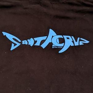 """Other - Santa Cruz BLK tee w/ turq  """"shark"""" letters Size L"""